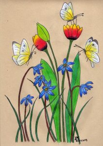 Spring feeling Illustration Künstlerfarbstifte Polychromos