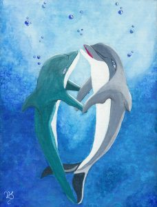 Dolphins in Love Illustration